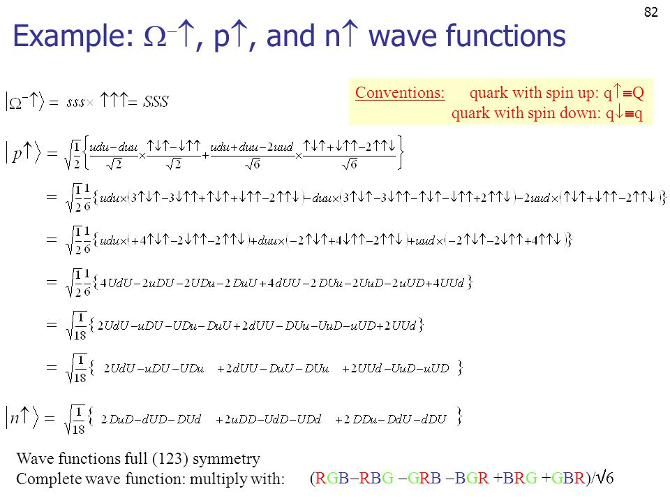 Example: , p, and n wave functions