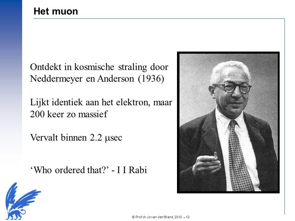 Ontdekt in kosmische straling door Neddermeyer en Anderson (1936)