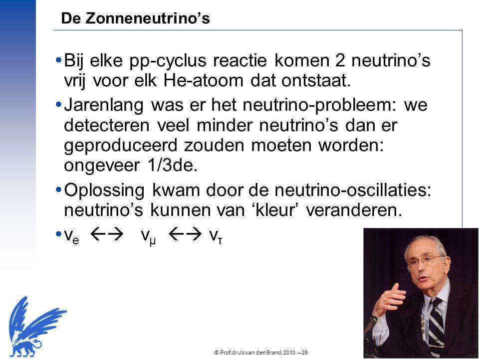 De Zonneneutrino's Bij elke pp-cyclus reactie komen 2 neutrino's vrij voor elk He-atoom dat ontstaat.