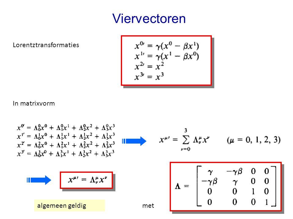 Viervectoren Lorentztransformaties In matrixvorm met algemeen geldig