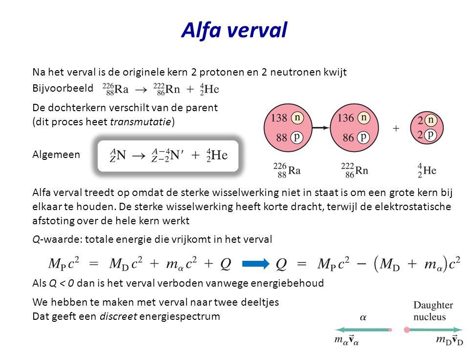 Alfa verval Na het verval is de originele kern 2 protonen en 2 neutronen kwijt. Bijvoorbeeld.