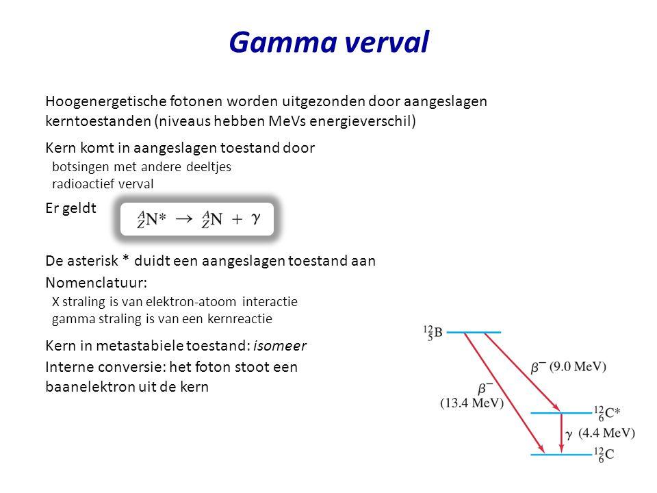 Gamma verval Hoogenergetische fotonen worden uitgezonden door aangeslagen kerntoestanden (niveaus hebben MeVs energieverschil)