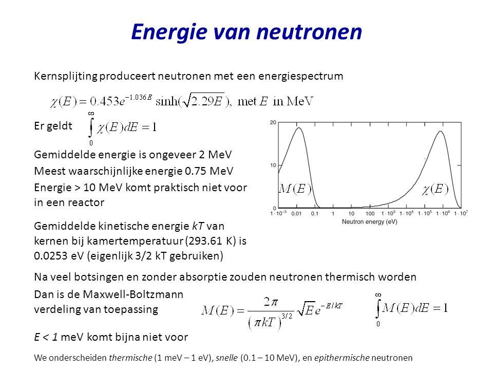 Energie van neutronen Kernsplijting produceert neutronen met een energiespectrum. Er geldt. Gemiddelde energie is ongeveer 2 MeV.