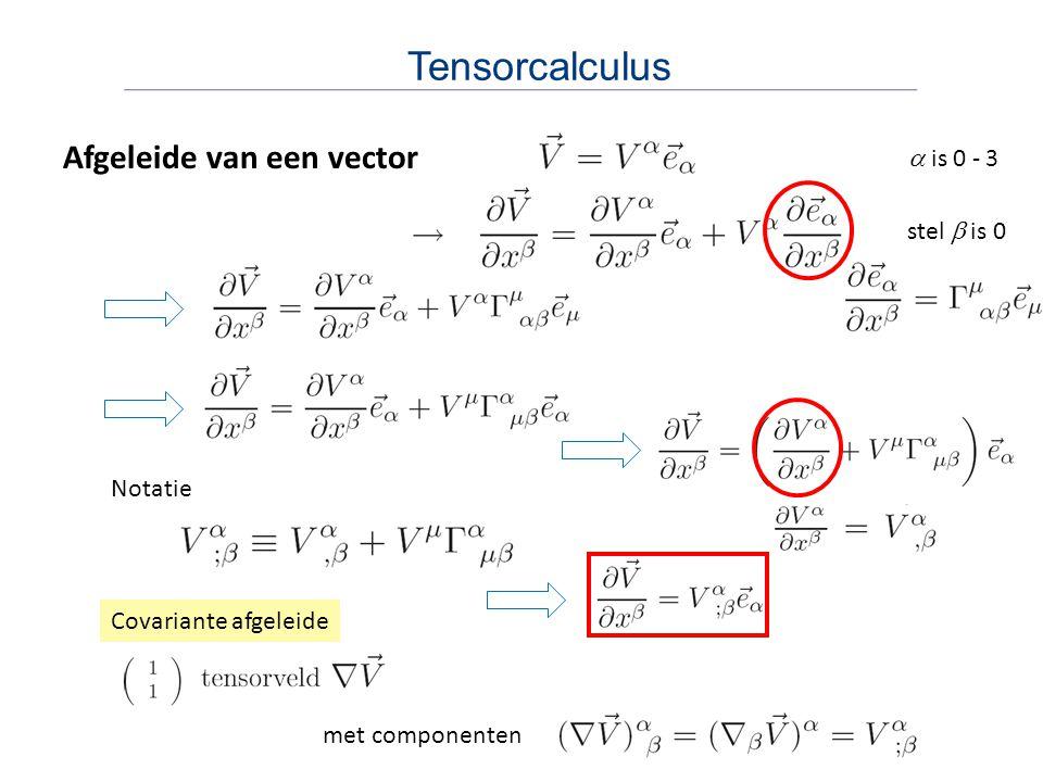Tensorcalculus Afgeleide van een vector a is 0 - 3 stel b is 0 Notatie