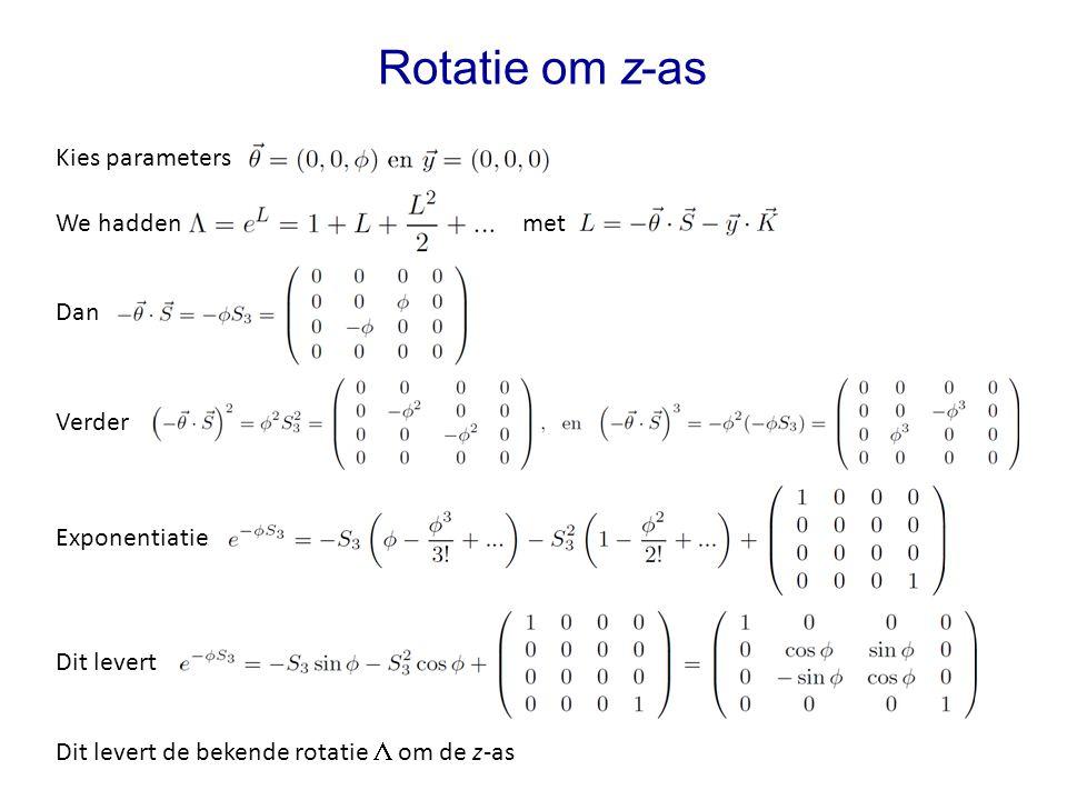 Rotatie om z-as Kies parameters We hadden met Dan Verder Exponentiatie