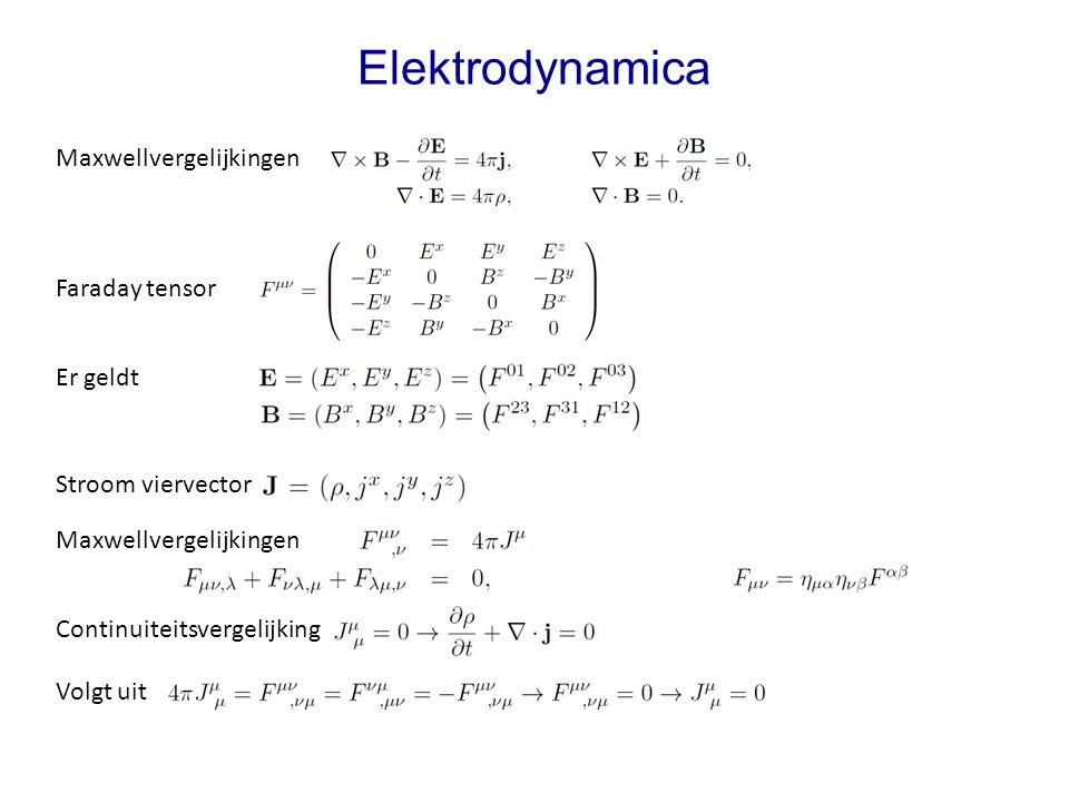 Elektrodynamica Maxwellvergelijkingen Faraday tensor Er geldt