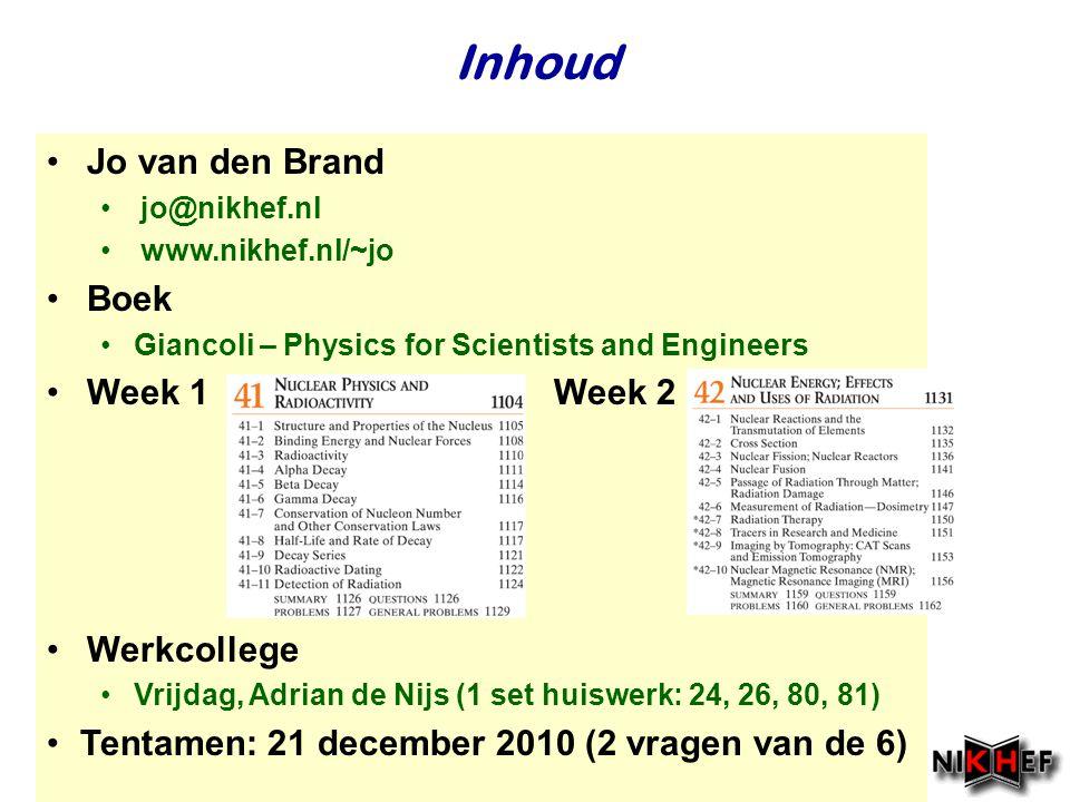 Inhoud Jo van den Brand Boek Week 1 Week 2 Werkcollege
