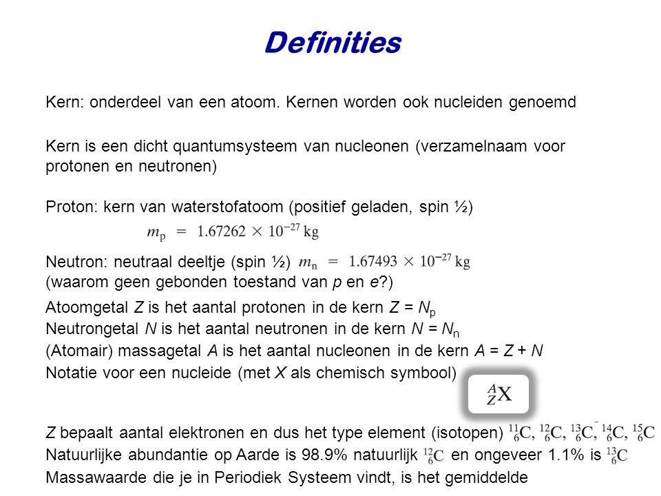 Definities Kern: onderdeel van een atoom. Kernen worden ook nucleiden genoemd.