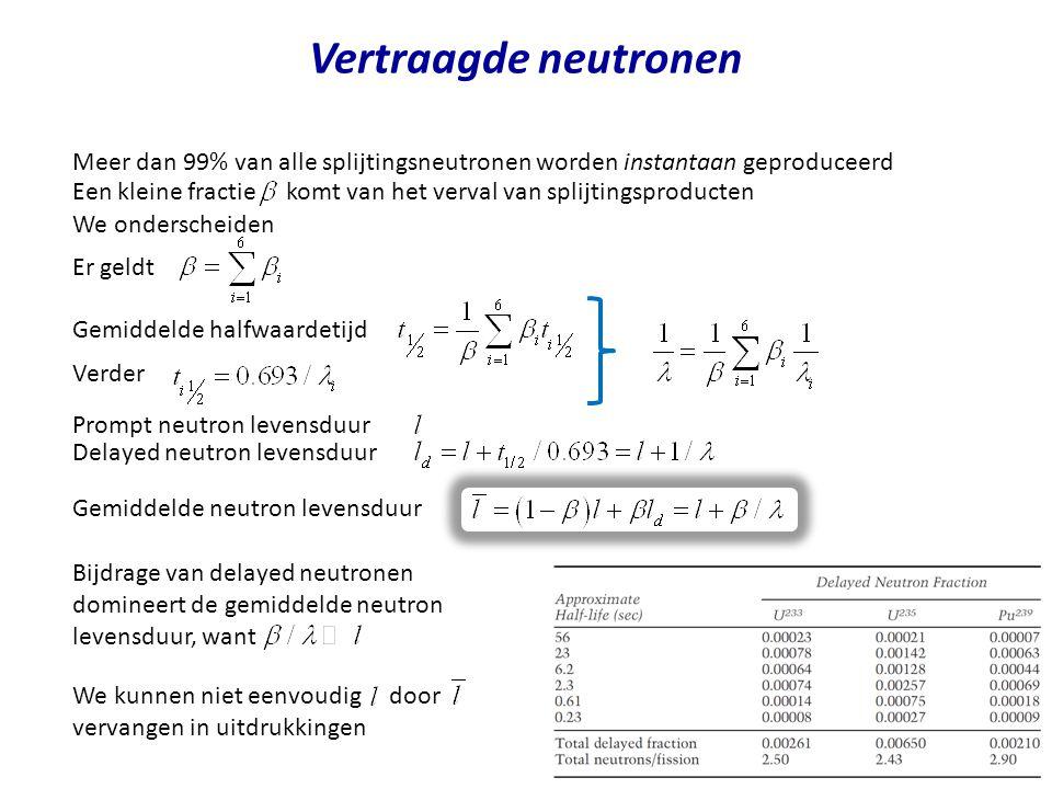 Vertraagde neutronen Meer dan 99% van alle splijtingsneutronen worden instantaan geproduceerd.