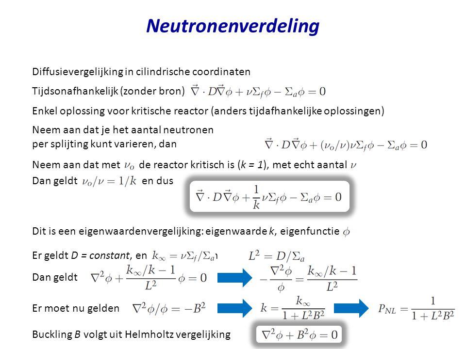 Neutronenverdeling Diffusievergelijking in cilindrische coordinaten