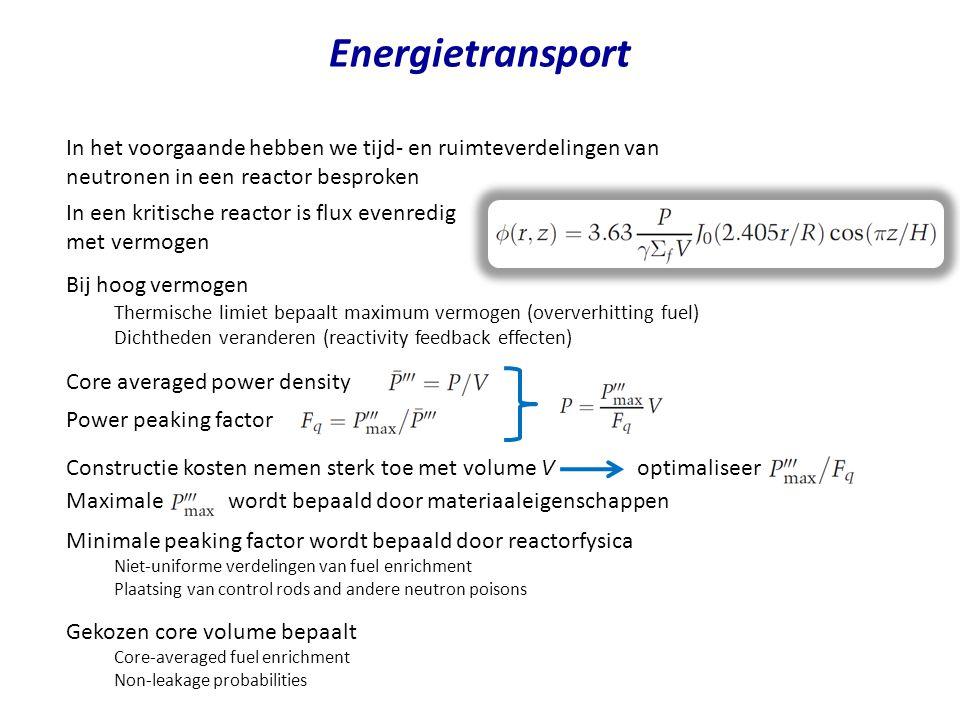 Energietransport In het voorgaande hebben we tijd- en ruimteverdelingen van neutronen in een reactor besproken.