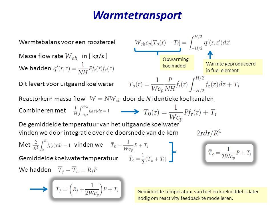 Warmtetransport Warmtebalans voor een roostercel
