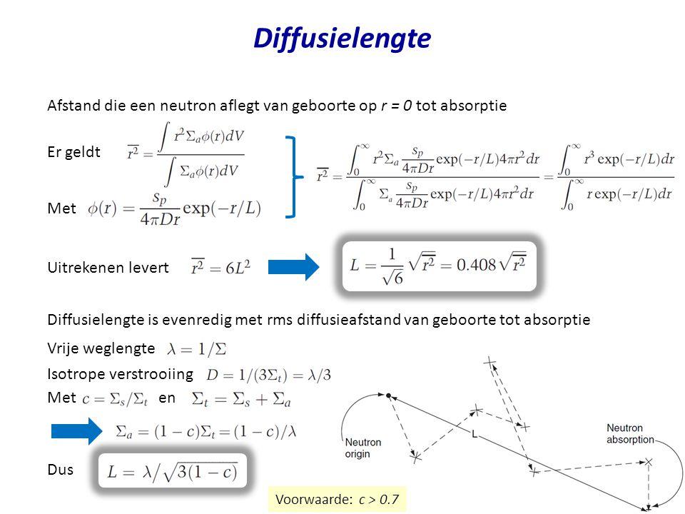 Diffusielengte Afstand die een neutron aflegt van geboorte op r = 0 tot absorptie. Er geldt. Met.