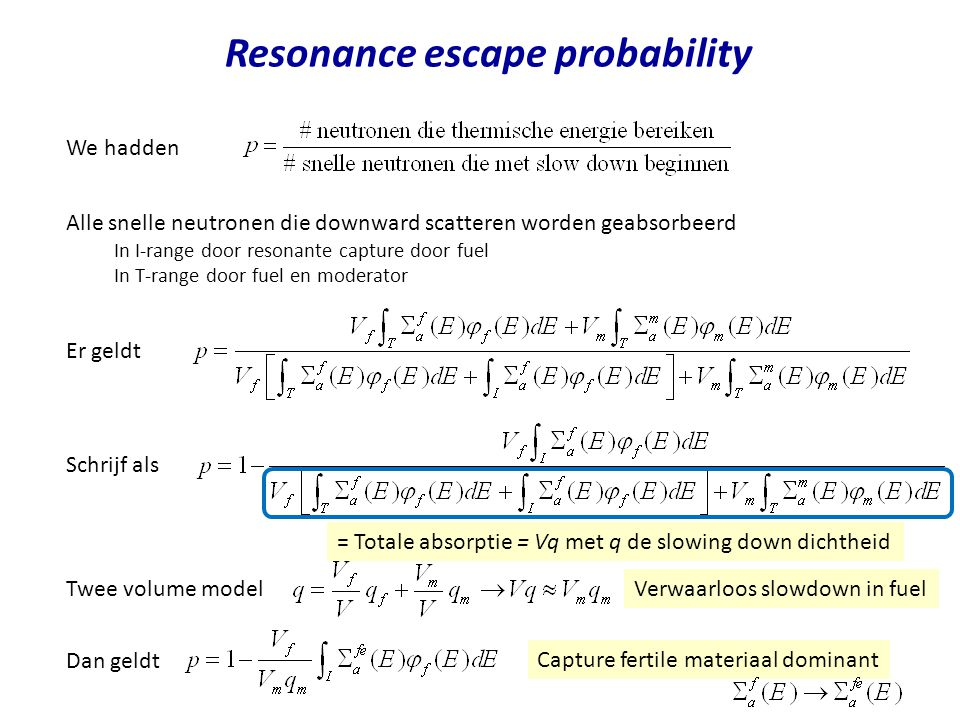 Resonance escape probability