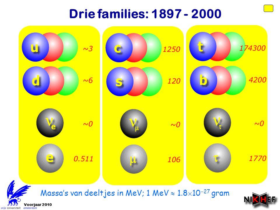 Drie families: 1897 - 2000 Massa's van deeltjes in MeV; 1 MeV  1.81027 gram Voorjaar 2010