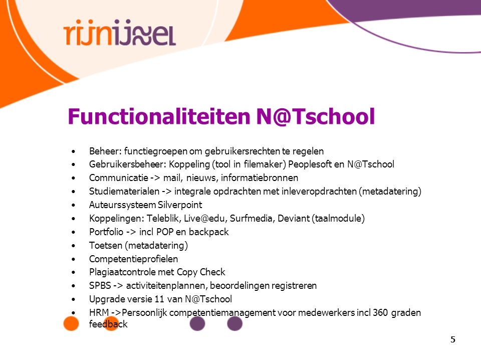 Functionaliteiten N@Tschool