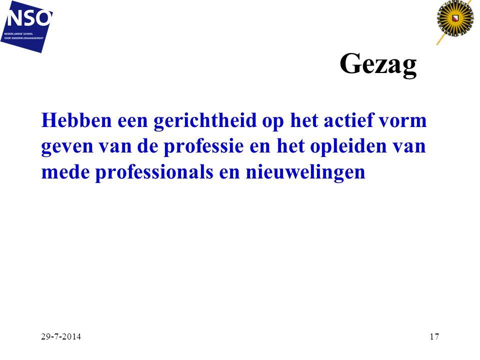 Gezag Hebben een gerichtheid op het actief vorm geven van de professie en het opleiden van mede professionals en nieuwelingen.