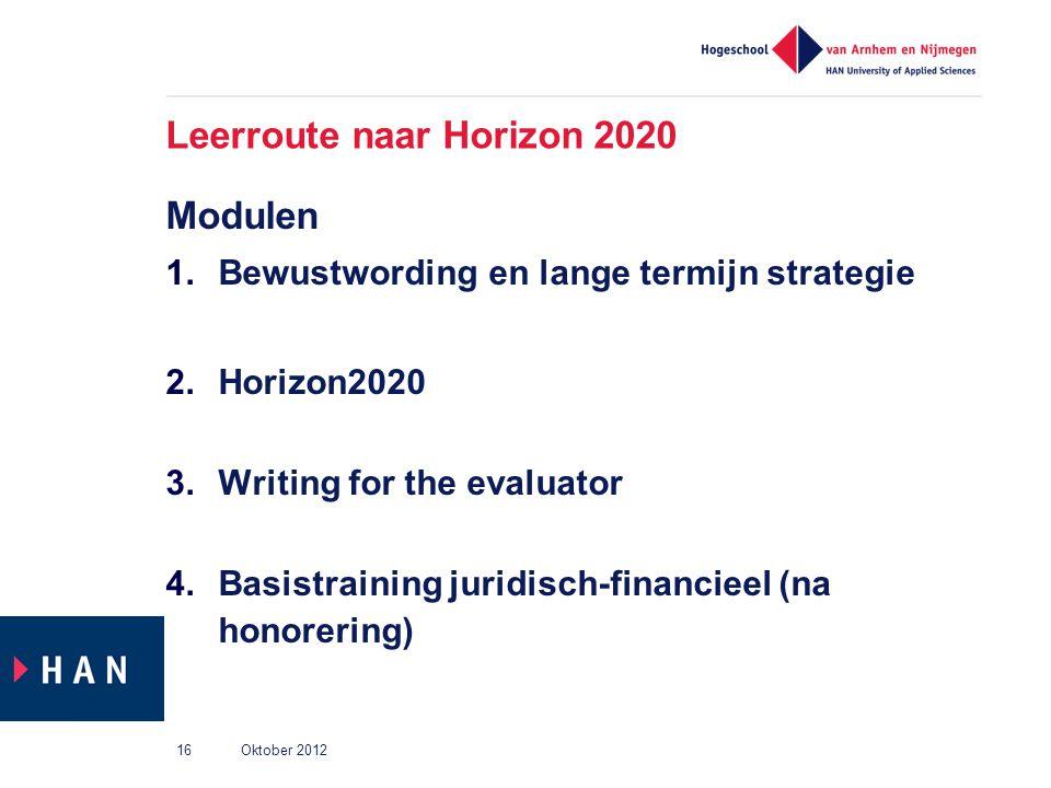 Leerroute naar Horizon 2020