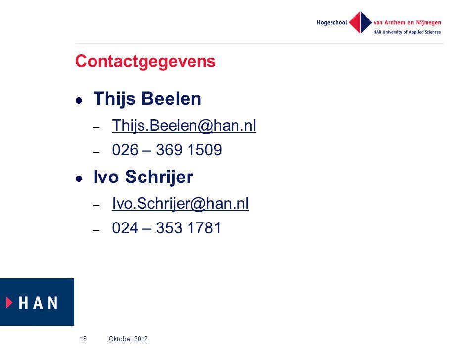 Thijs Beelen Ivo Schrijer Contactgegevens Thijs.Beelen@han.nl