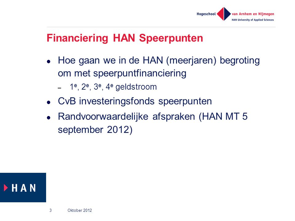 Financiering HAN Speerpunten