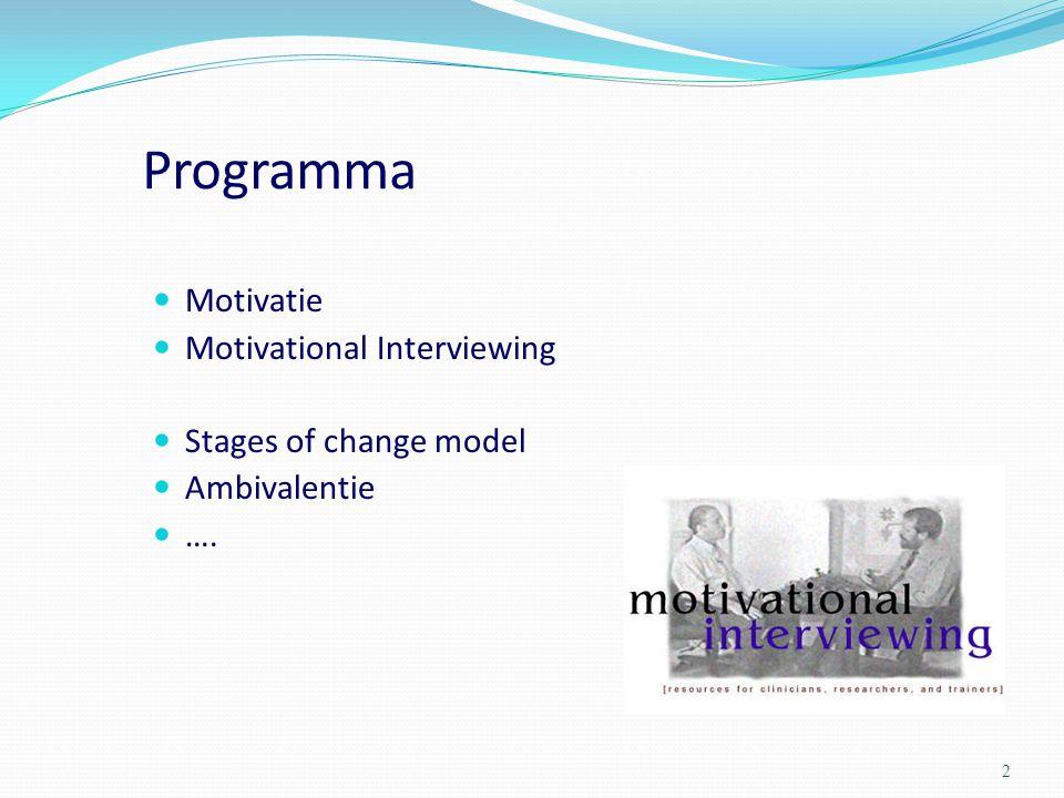 Programma Motivatie Motivational Interviewing Stages of change model