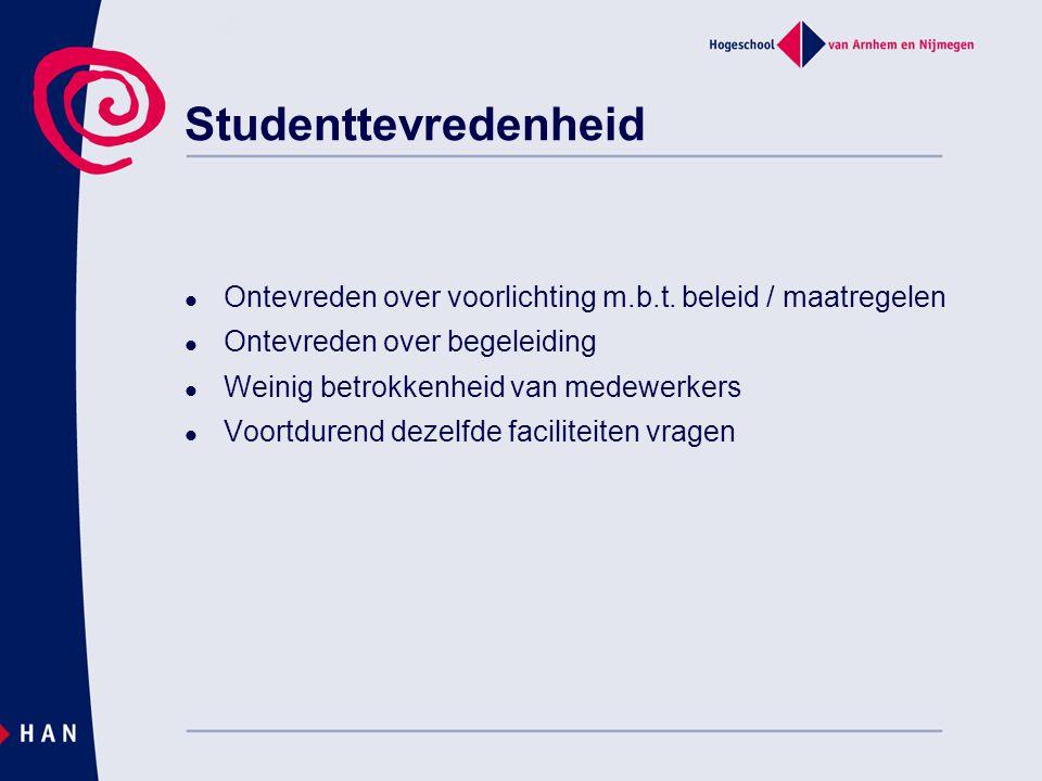 Studenttevredenheid Ontevreden over voorlichting m.b.t. beleid / maatregelen. Ontevreden over begeleiding.