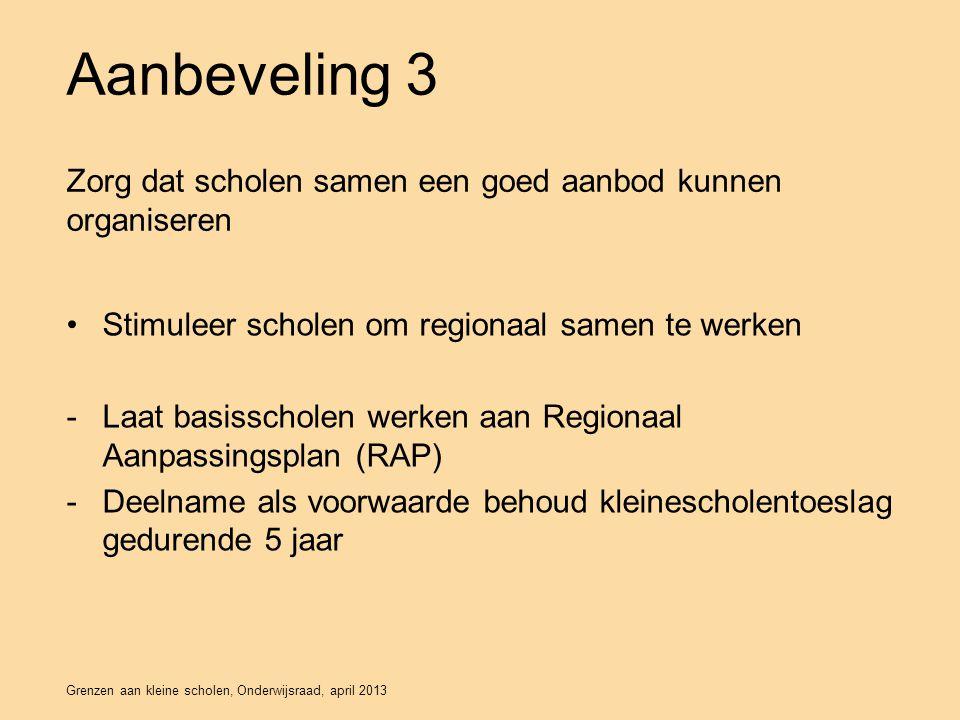 Aanbeveling 3 Zorg dat scholen samen een goed aanbod kunnen organiseren. Stimuleer scholen om regionaal samen te werken.
