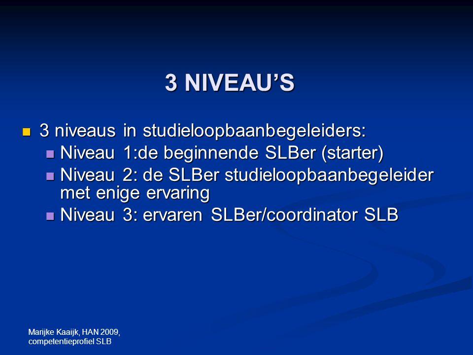 3 NIVEAU'S 3 niveaus in studieloopbaanbegeleiders: