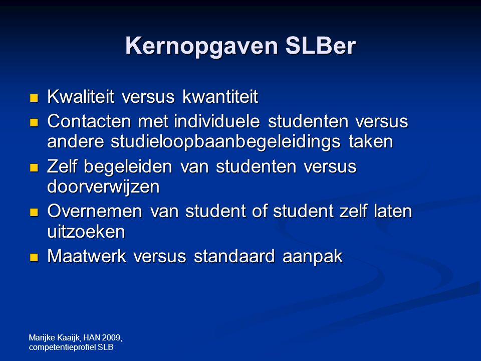 Kernopgaven SLBer Kwaliteit versus kwantiteit
