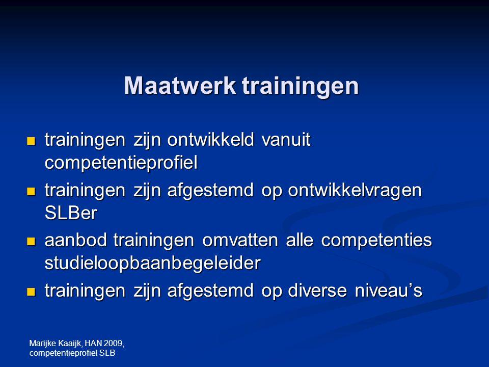 Maatwerk trainingen trainingen zijn ontwikkeld vanuit competentieprofiel. trainingen zijn afgestemd op ontwikkelvragen SLBer.