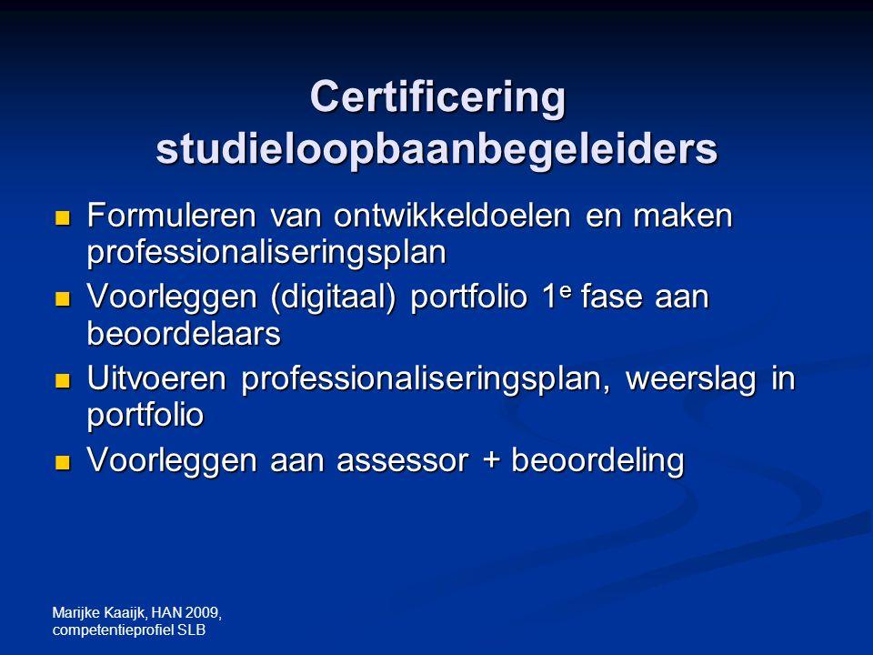 Certificering studieloopbaanbegeleiders