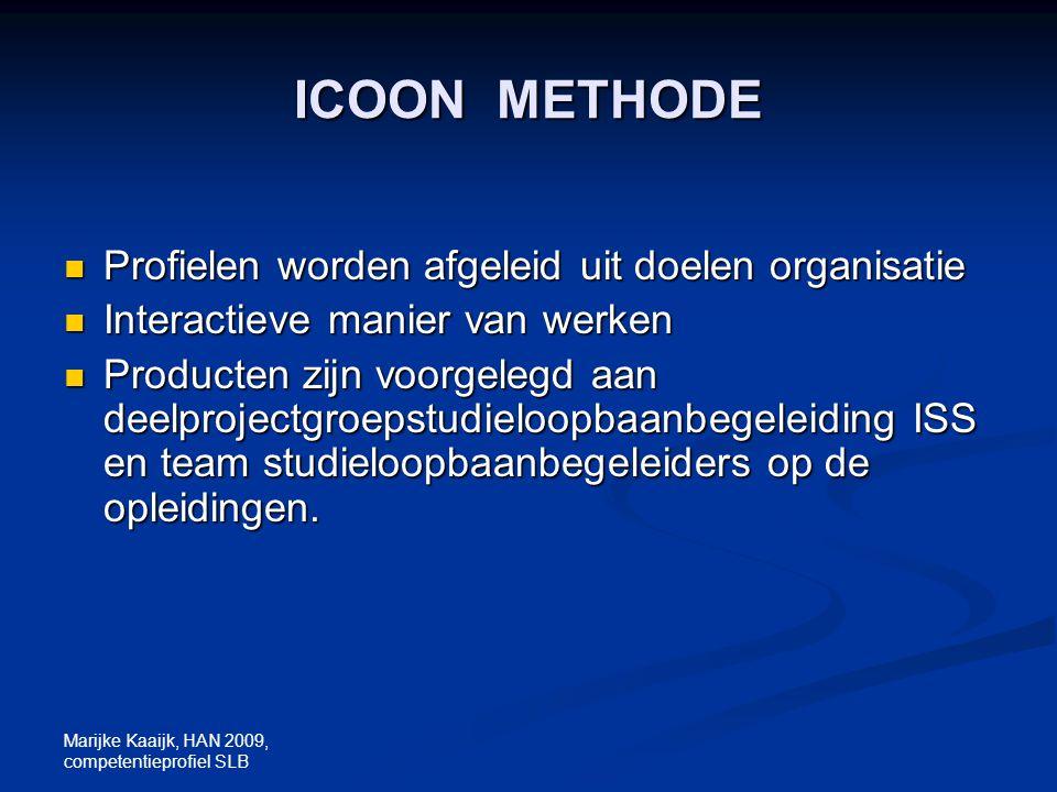 ICOON METHODE Profielen worden afgeleid uit doelen organisatie