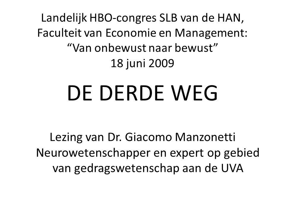 Landelijk HBO-congres SLB van de HAN, Faculteit van Economie en Management: Van onbewust naar bewust 18 juni 2009