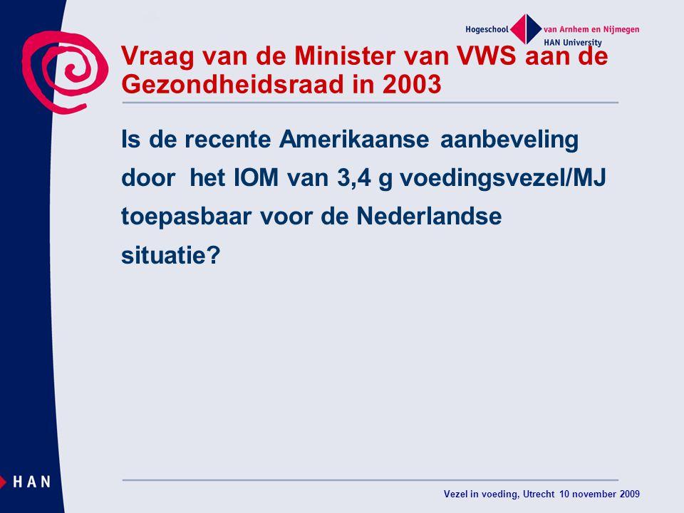 Vraag van de Minister van VWS aan de Gezondheidsraad in 2003