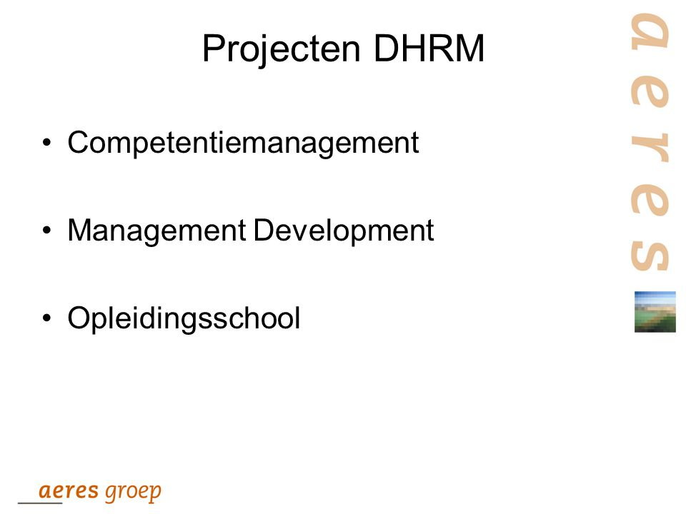 Projecten DHRM Competentiemanagement Management Development