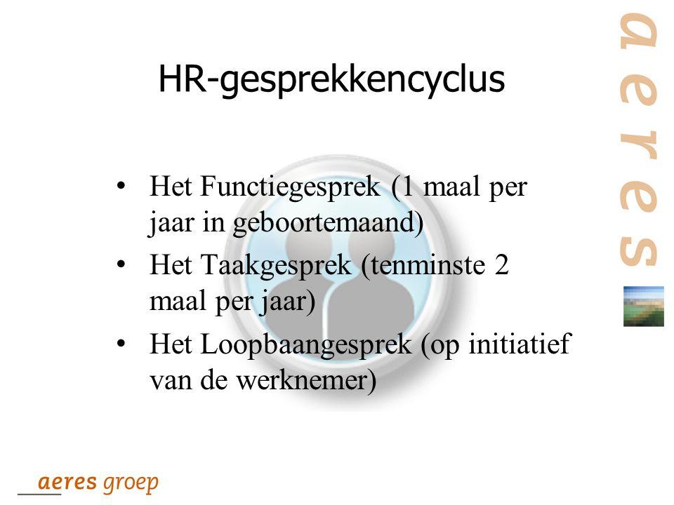 HR-gesprekkencyclus Het Functiegesprek (1 maal per jaar in geboortemaand) Het Taakgesprek (tenminste 2 maal per jaar)