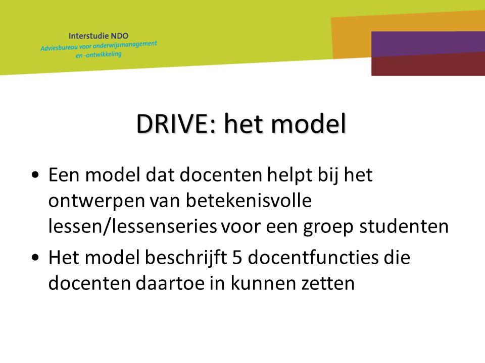 DRIVE: het model Een model dat docenten helpt bij het ontwerpen van betekenisvolle lessen/lessenseries voor een groep studenten.