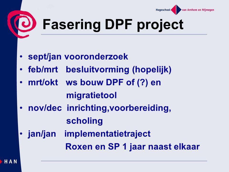 Fasering DPF project sept/jan vooronderzoek