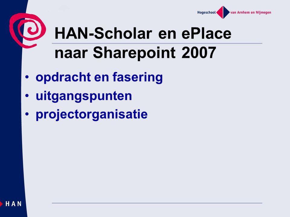 HAN-Scholar en ePlace naar Sharepoint 2007