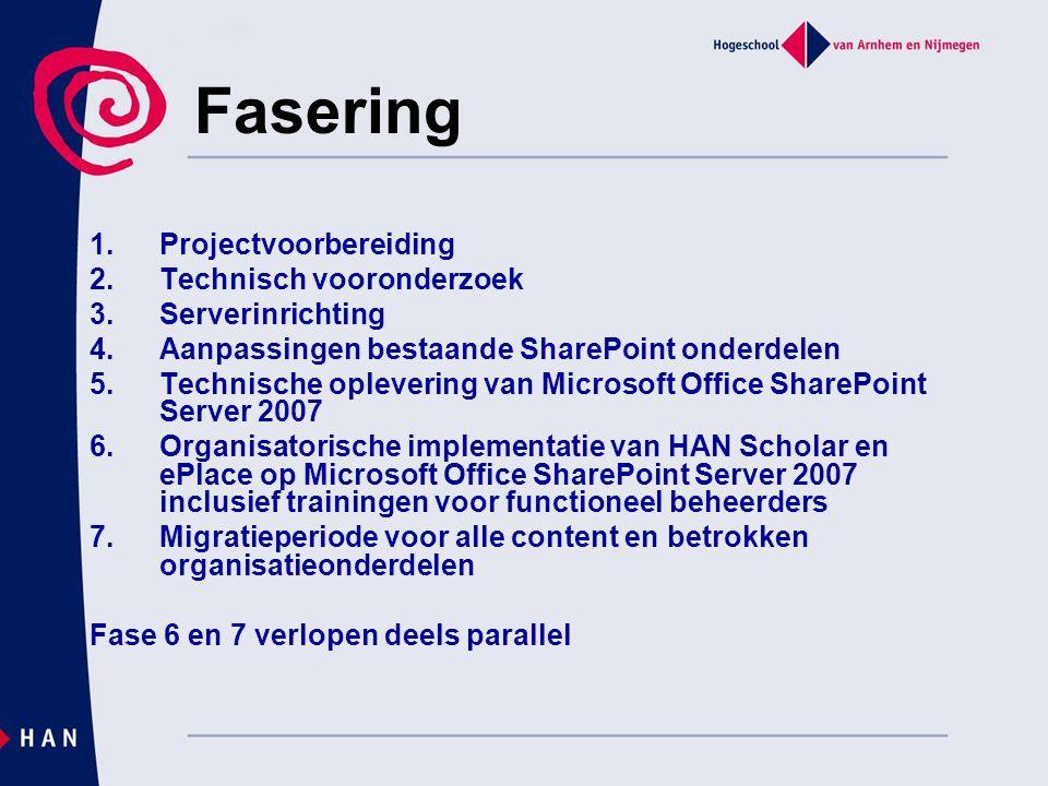 Fasering Projectvoorbereiding Technisch vooronderzoek Serverinrichting
