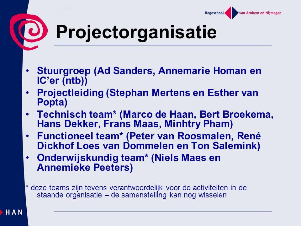 Projectorganisatie Stuurgroep (Ad Sanders, Annemarie Homan en IC'er (ntb)) Projectleiding (Stephan Mertens en Esther van Popta)