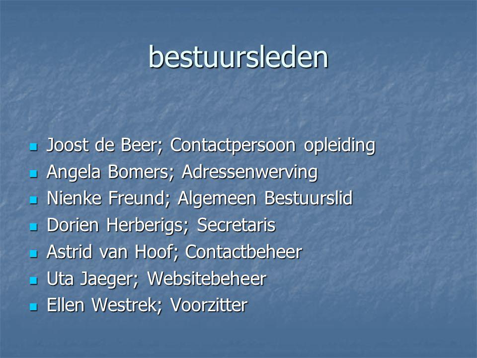 bestuursleden Joost de Beer; Contactpersoon opleiding