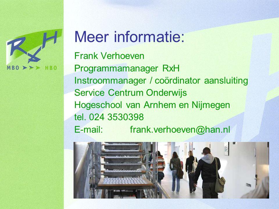 Meer informatie: Frank Verhoeven Programmamanager RxH