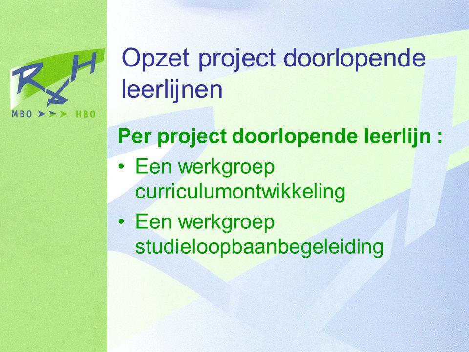 Opzet project doorlopende leerlijnen