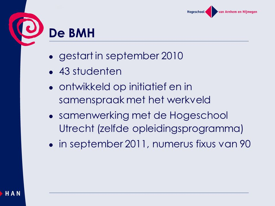 De BMH gestart in september 2010 43 studenten