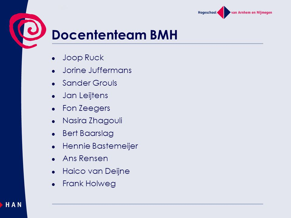 Docententeam BMH Joop Ruck Jorine Juffermans Sander Grouls