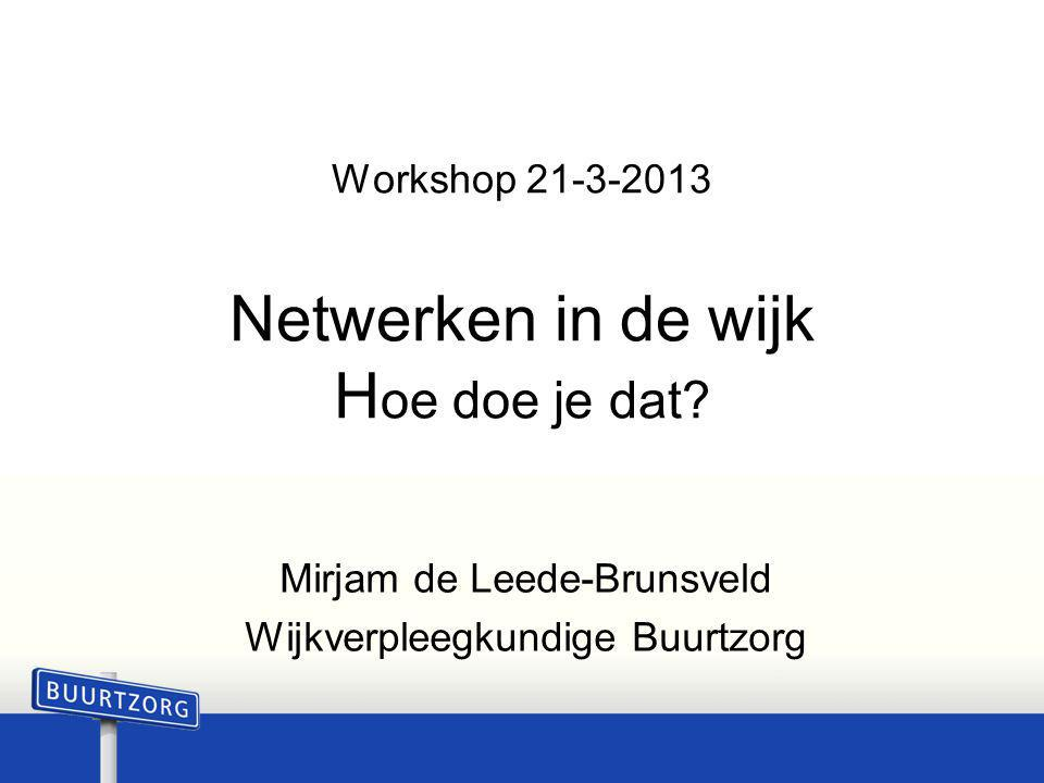 Workshop 21-3-2013 Netwerken in de wijk Hoe doe je dat