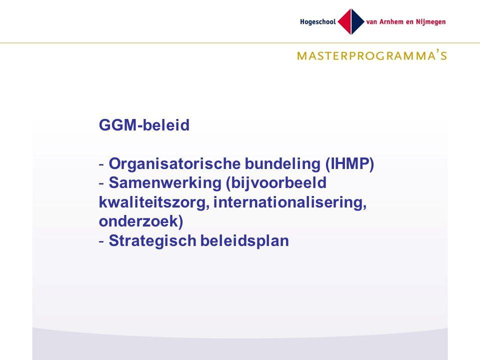 GGM-beleid Organisatorische bundeling (IHMP) Samenwerking (bijvoorbeeld kwaliteitszorg, internationalisering, onderzoek)