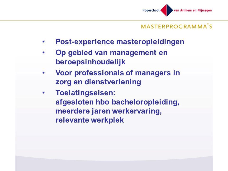 Post-experience masteropleidingen