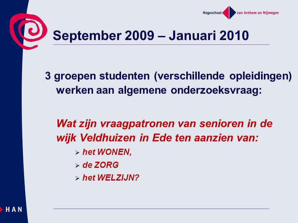 September 2009 – Januari 2010 3 groepen studenten (verschillende opleidingen) werken aan algemene onderzoeksvraag: